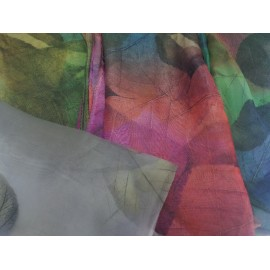 Foulard de seda hojas